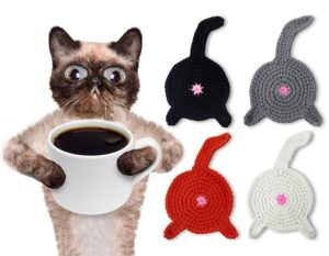 cat, cats, cat butt, crochet, drink coasters, cat home decor, funny, white elephant, cat lover gift