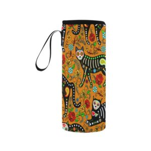 cat, cats, black cats, cat lover, day of the dead, dia de los muertos, mexican, sugar skull, goth, neoprene, water bottle, hiking, camping, work, road trip, wine, beer, water, coozie, koozie