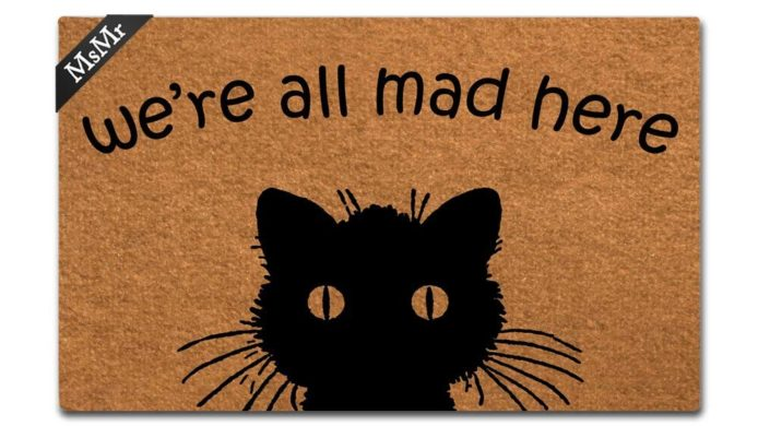 we're all mad here, non-slip rug, front door mat, doormat, black cat, cat decor, office decor, home decor