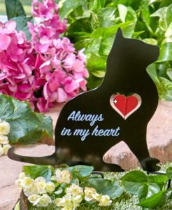black cat, cat memorial, cat grave marker, cat memorial lawn stake
