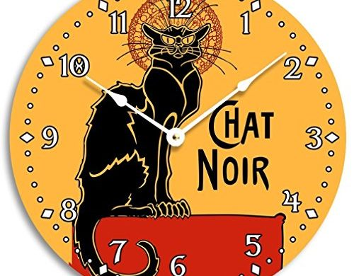 vintage, french, black cat, wall clock, chat noir