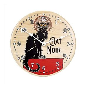 vintage, french, black cat, wall clock, chat noir, printed, solid maple wood clock