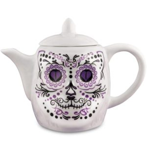 porcelain teapot, tea pot, white cat, sugar skull, day of the dead, dia de los muertos, cat decor, kitchen decor, sugar skull