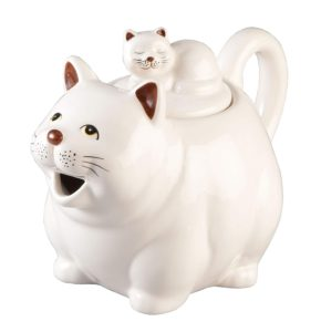 ceramic teapot, cat teapot, kitten teapot, white cat, tea pot, home decor, kitchen decor, cat decor
