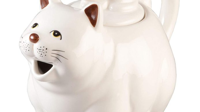ceramic teapot, cat teapot, kitten teapot, white cat, home decor, kitchen decor, cat decor
