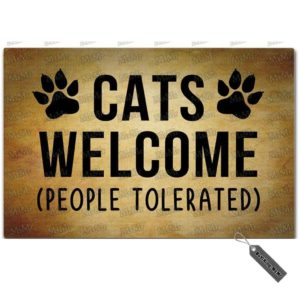 This funny cat doormat in brown with black paw graphics and lettering says CATS WELCOME (people tolerated). For all serious (or funny) cat lovers!