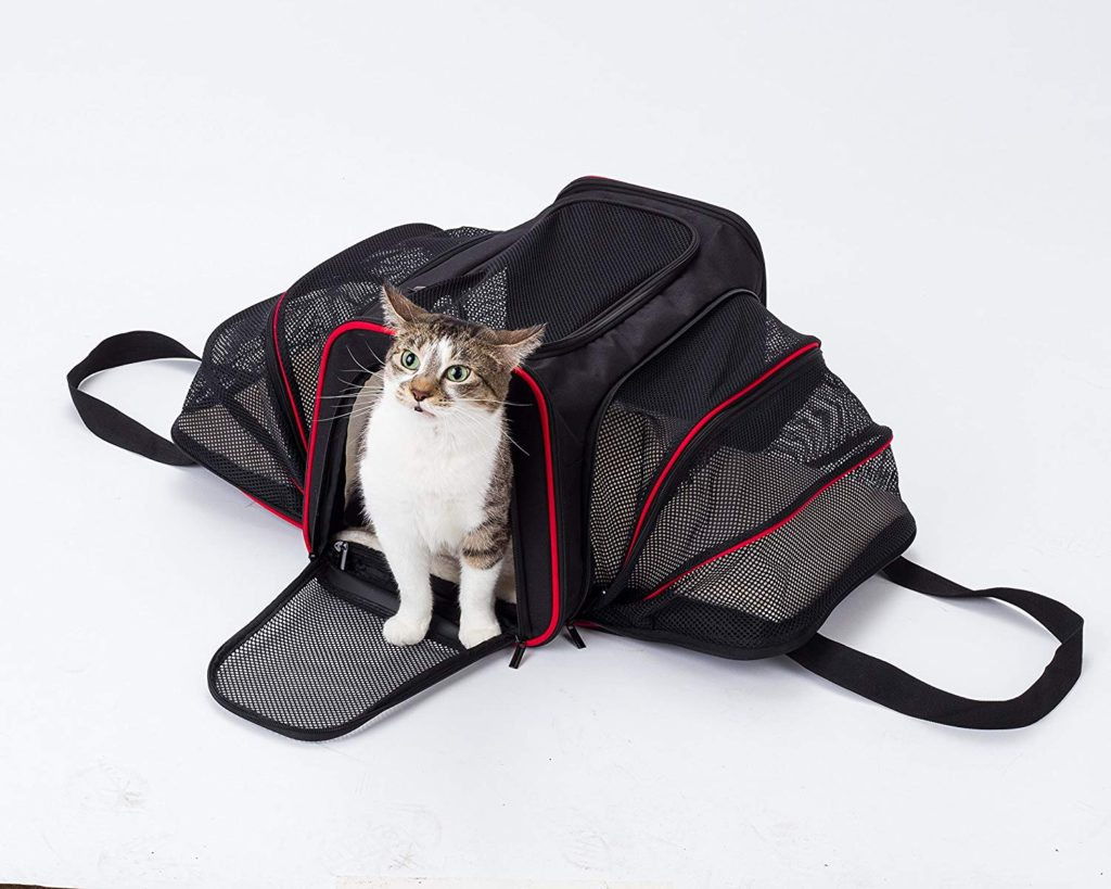safe and secure soft expandable pet cat or dog carrier, airline approved